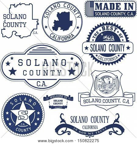 Solano County, Ca. Set Of Stamps And Signs