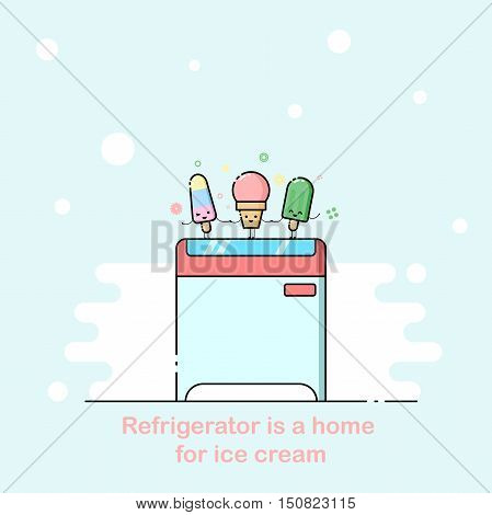 Vector outline illustration with supermarket freezer box and three funny cartoon ice cream
