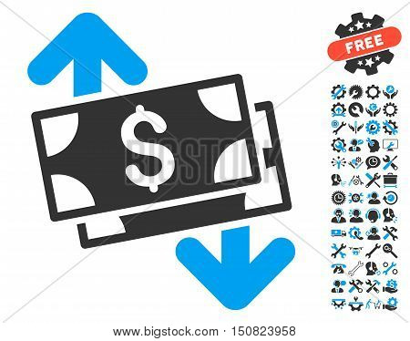 Banknotes Spending pictograph with bonus tools pictograph collection. Vector illustration style is flat iconic bicolor symbols, blue and gray colors, white background.