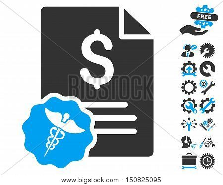 Medical Invoice icon with bonus tools icon set. Vector illustration style is flat iconic bicolor symbols, blue and gray colors, white background.