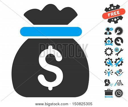 Money Bag pictograph with bonus tools pictograph collection. Vector illustration style is flat iconic bicolor symbols, blue and gray colors, white background.