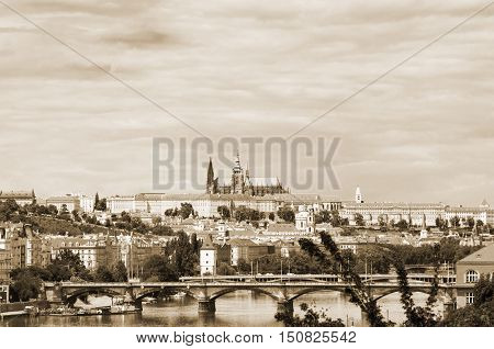 View on Prague town and St.Vitus cathedral in Prague Castle Czech Republic. Black and white image