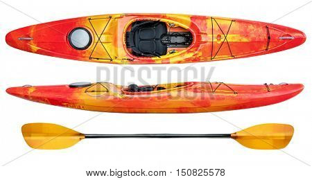 crossover kayak (whitewater and river running kayak) and paddle isolated on white