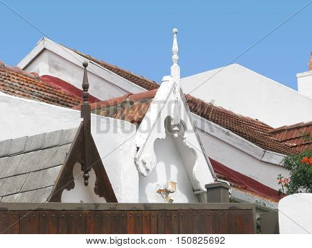 Old Rustic, Wooden Gable Roofs From Last Century