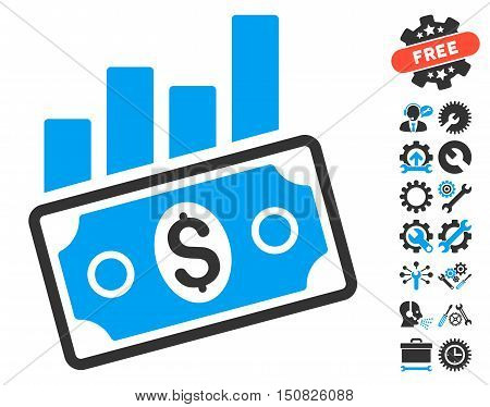 Sales Bar Chart pictograph with bonus tools design elements. Vector illustration style is flat iconic bicolor symbols, blue and gray colors, white background.