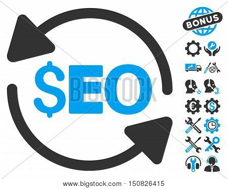 Update Seo pictograph with bonus tools pictogram. Vector illustration style is flat iconic bicolor symbols, blue and gray colors, white background.