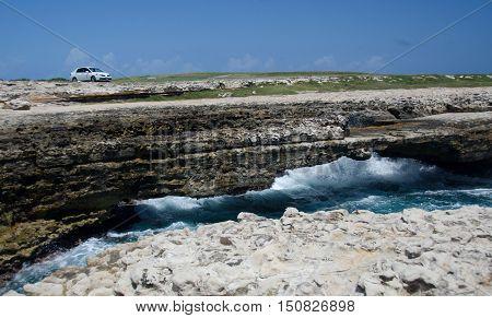 Rock Formations And Aquamarine Waters  Near Devils Bridge