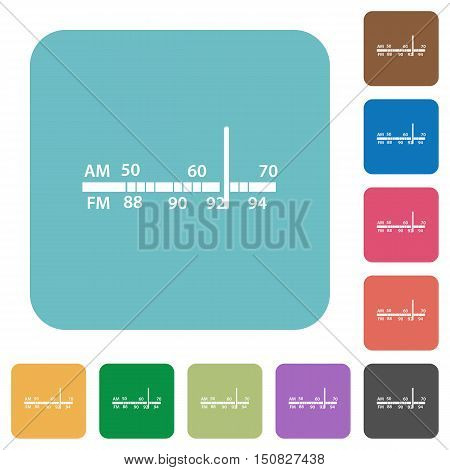Flat radio tuner icons on rounded square color backgrounds.