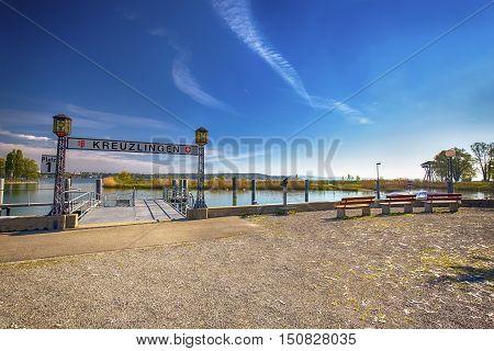 Harbor in Kreuzlingen city with the Constance lake. Kreuzlingen is the largest city in canton Thurgau Switzerland.