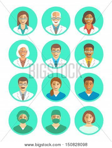 Hospital staff flat simple vector avatars. Doctors and medical workers. Surgeon physician assistant patient. Men and women young and senior. Cute smiling portraits. Clinic personnel profile icons