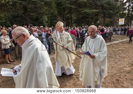 Pontchateau France - September 11 2016: Celebration of 300 anniversary of the death of St. Louis Monfort Monfort jubilee year. In the picture Jean-Paul James Bishop of Nantes and Father General Santino Brembilla SMM and unidentified participants of the ce