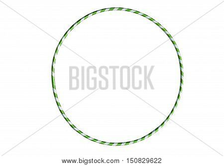 Versatile exerciser for sports , fitness and ballet. The hula Hoop light green with silver isolated on white background. Gymnastics, fitness, diet.