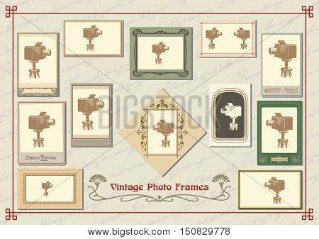 Set of vintage old-fashioned decorative photo frames