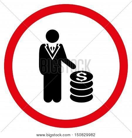 Businessman vector bicolor rounded icon. Image style is a flat icon symbol inside a circle, intensive red and black colors, white background.