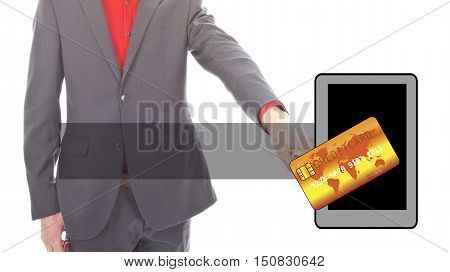 Young businessman with mobile payment symbols on white background