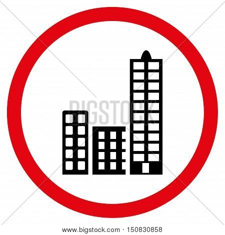 City vector bicolor rounded icon. Image style is a flat icon symbol inside a circle, intensive red and black colors, white background.