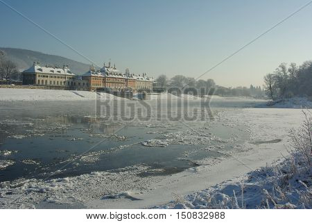 Frozen River Elbe at Castle Pillnitz, Dresden, Saxony, Germany