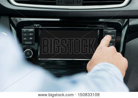 blank navigation screen on dashboard inside a car