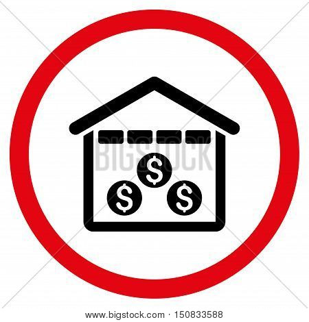 Money Depository vector bicolor rounded icon. Image style is a flat icon symbol inside a circle, intensive red and black colors, white background.