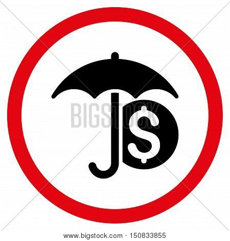 Money Umbrella Protection vector bicolor rounded icon. Image style is a flat icon symbol inside a circle, intensive red and black colors, white background.