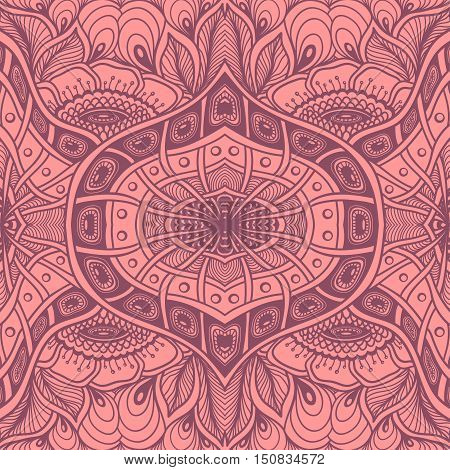 Seamless pattern  with  Zen tangle or Zen doodle flowers in pink or for wallpaper or  for packed something