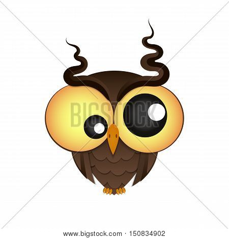 crazy owl with big eyes vector illustration
