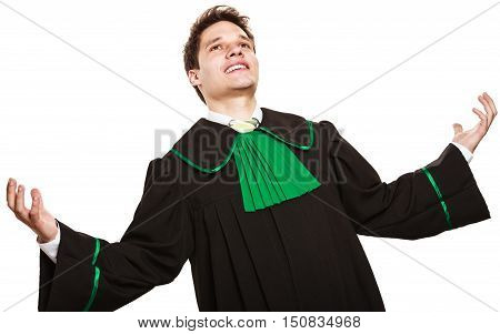 Happy Male Lawyer Hold Hands In Air