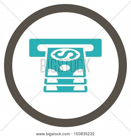 Bank Cashpoint vector bicolor rounded icon. Image style is a flat icon symbol inside a circle, grey and cyan colors, white background.