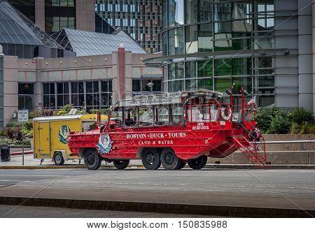 Boston Massachusetts USA - September 4 2005 : Boston Duck Tours operates in the city using World War II amphibious DUKW vehicle