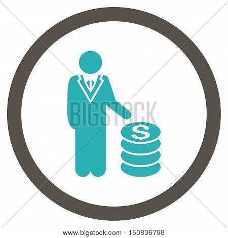 Businessman vector bicolor rounded icon. Image style is a flat icon symbol inside a circle, grey and cyan colors, white background.