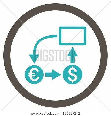 Cashflow Euro Exchange vector bicolor rounded icon. Image style is a flat icon symbol inside a circle, grey and cyan colors, white background.