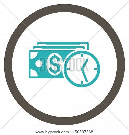 Credit vector bicolor rounded icon. Image style is a flat icon symbol inside a circle, grey and cyan colors, white background.