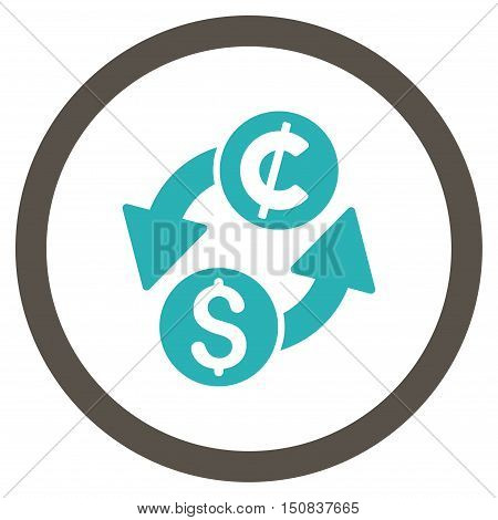 Dollar Cent Exchange vector bicolor rounded icon. Image style is a flat icon symbol inside a circle, grey and cyan colors, white background.