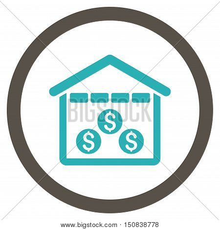 Money Depository vector bicolor rounded icon. Image style is a flat icon symbol inside a circle, grey and cyan colors, white background.