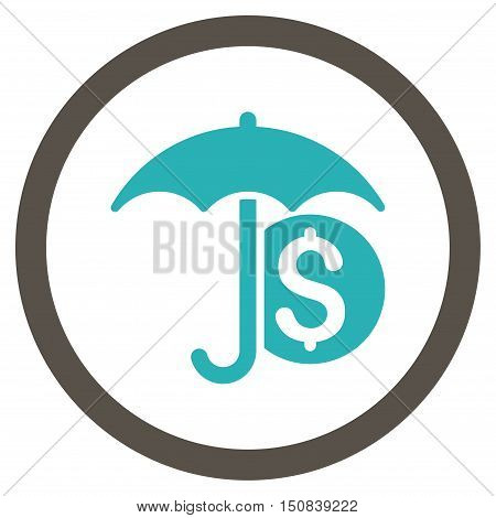 Money Umbrella Protection vector bicolor rounded icon. Image style is a flat icon symbol inside a circle, grey and cyan colors, white background.