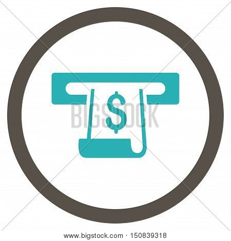 Paper Receipt Slot vector bicolor rounded icon. Image style is a flat icon symbol inside a circle, grey and cyan colors, white background.