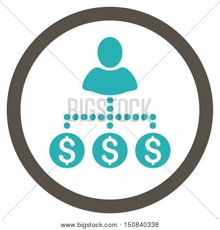 User Payments vector bicolor rounded icon. Image style is a flat icon symbol inside a circle, grey and cyan colors, white background.