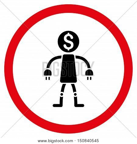 Bank Robot vector bicolor rounded icon. Image style is a flat icon symbol inside a circle, intensive red and black colors, white background.