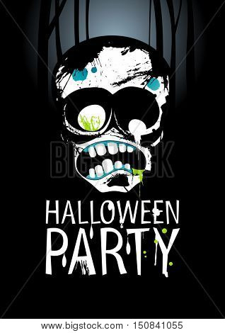 Halloween Party Design template with zombie and place for text, rasterized version