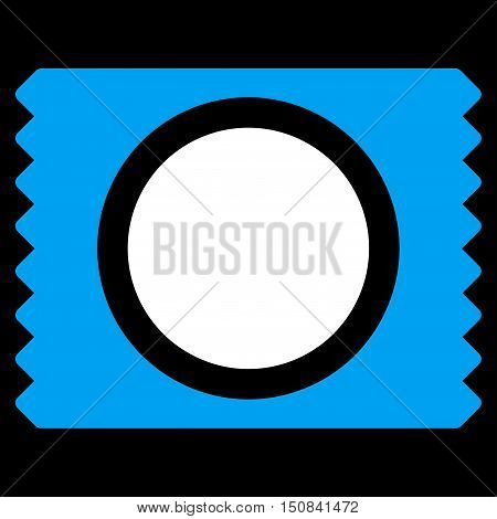 Condom Pack vector icon. Style is bicolor flat symbol blue and white colors rounded angles black background.