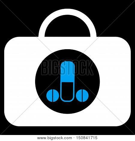 Male Sexual Toolbox vector icon. Style is bicolor flat symbol blue and white colors rounded angles black background.