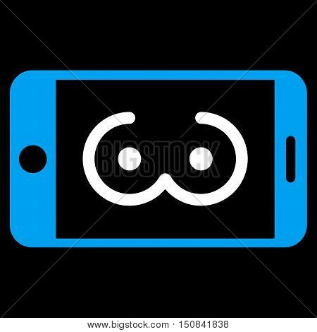 Mobile Female Erotics vector icon. Style is bicolor flat symbol blue and white colors rounded angles black background.