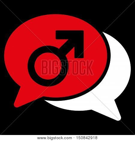 Male Chat vector icon. Style is bicolor flat symbol red and white colors rounded angles black background.