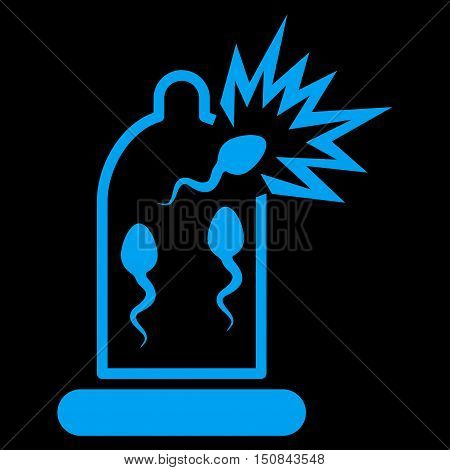 Damaged Condom With Sperm vector icon. Style is flat symbol blue color rounded angles black background.