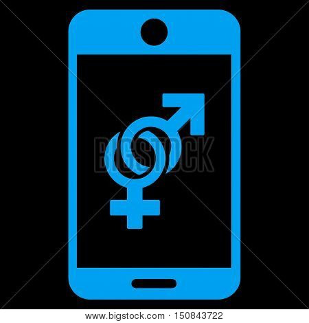 Mobile Dating vector icon. Style is flat symbol blue color rounded angles black background.