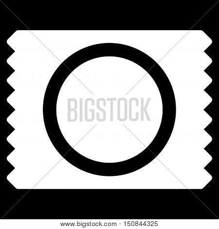 Condom Pack vector icon. Style is flat symbol white color rounded angles black background.