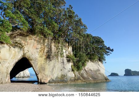 Landscape view of Te Whanganui-A-Hei (Cathedral Cove) Marine Reserve in Coromandel Peninsula North Island New Zealand.