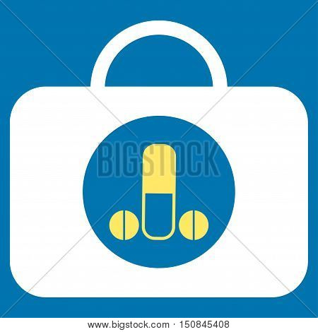 Male Sexual Toolbox vector icon. Style is bicolor flat symbol yellow and white colors rounded angles blue background.