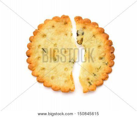 top view broken crispy cracker on a white background