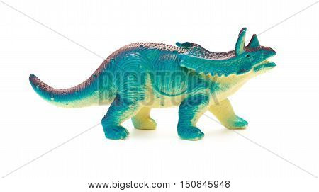 side view blue Pentaceratops toy on a white background